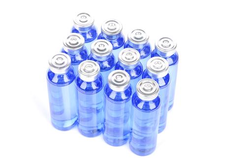 Block of blue vials